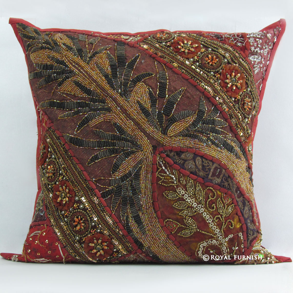 fancy sofa pillows leather chesterfield and chairs red indian beaded embroidered patchwork decorative throw