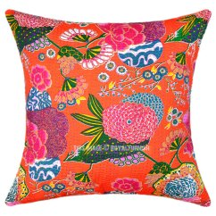 Oversized Pillows For Sofa Sofas Under 300 24 Quot Large Orange Tropical Kantha Couch