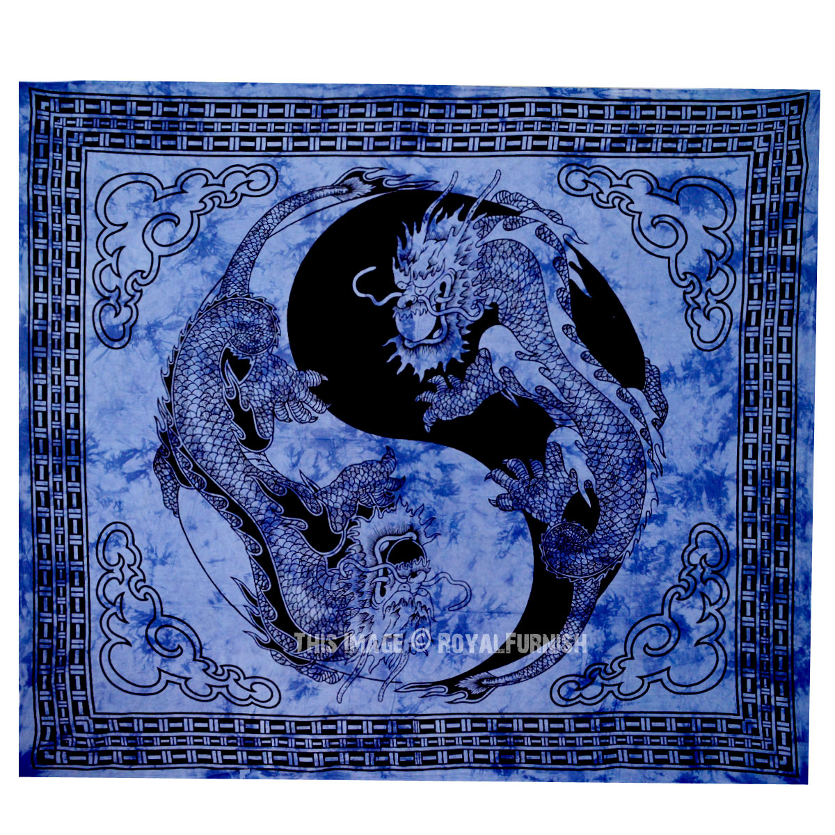Blue Yin Yang Chinese Dragon Fly Hippie Tapestry Wall