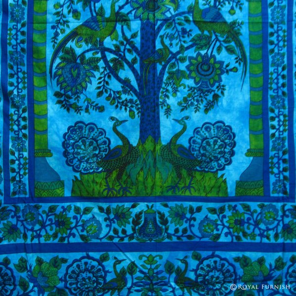Queen Size Blue Tree of Life India Wall Tapestry Coverlet