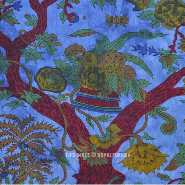 Large Blue Tree of Life Birds Wall Tapestry Tie Dye