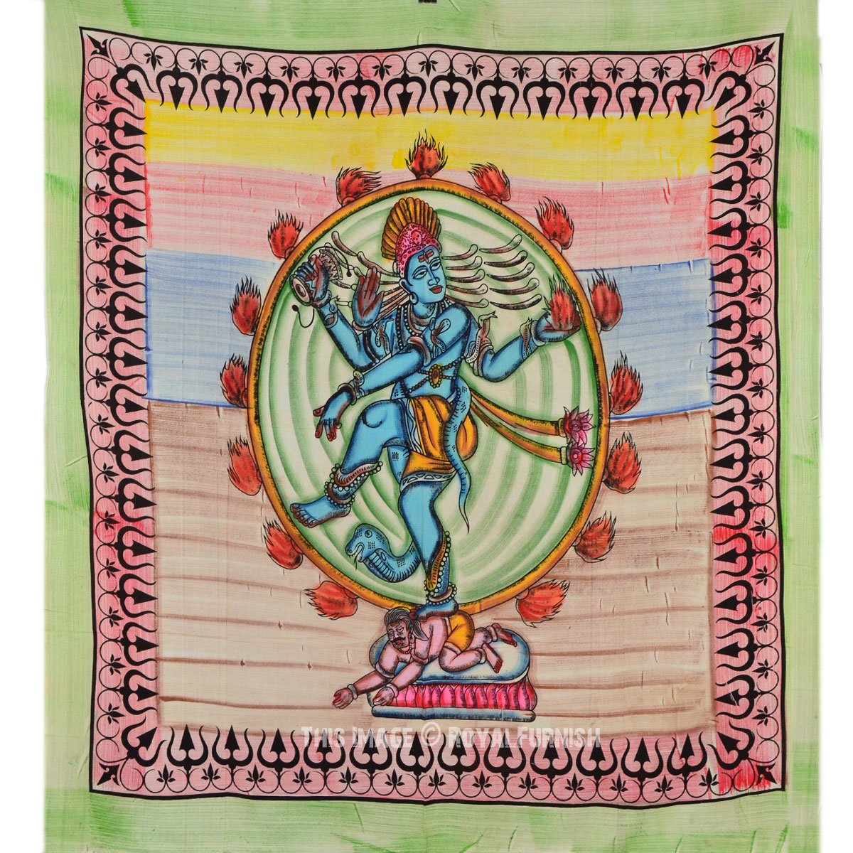 Multi Color Hindu Lord Shiva Dancing TieDye Cotton