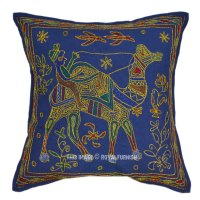Blue Camel Hand Embroidery Decorative Toss Pillow ...