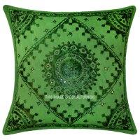 Green Mirror Embroidered Cotton Sofa Indian Throw Pillow ...