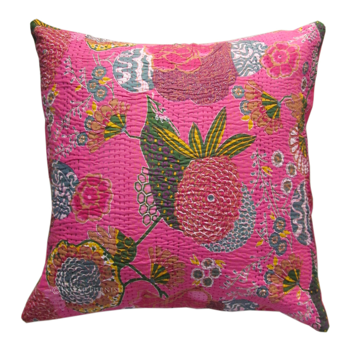 cotton sofa covers india sleeper for sale cheap 24 quot pink color indian kantha thread floral cushion