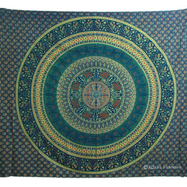 Blue Indian Mandala Bird Paradise Hippie Mandala Tapestry