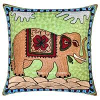"16"" Cotton Decorative Embroidered Elephant Throw Pillow ..."