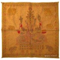 Brown Ganesha Hand Embroidered Hindu Fabric Wall Hanging ...