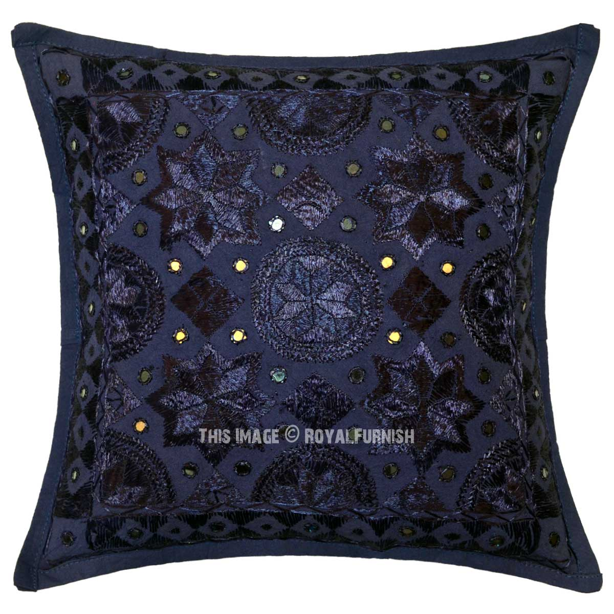 Blue Decorative Star Mirrored Unique Handmade Throw Pillow