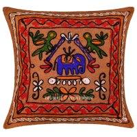 Vintage Indian Embroidered Animal Design Decorative Throw ...