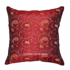 Designer Sofa Pillows Wooden Frame Sofas Red Indian Floral Embroidered Decorative Silk Throw Pillow