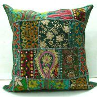 Green Bohemian Indian Sari Patch Throw Pillow ...