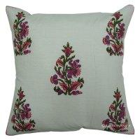 White Floral Hand Block Decorative Throw Pillow Sham ...