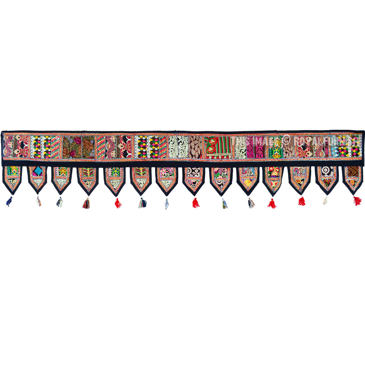 Black Multicolor Vintage Patch Window Treatment Valance