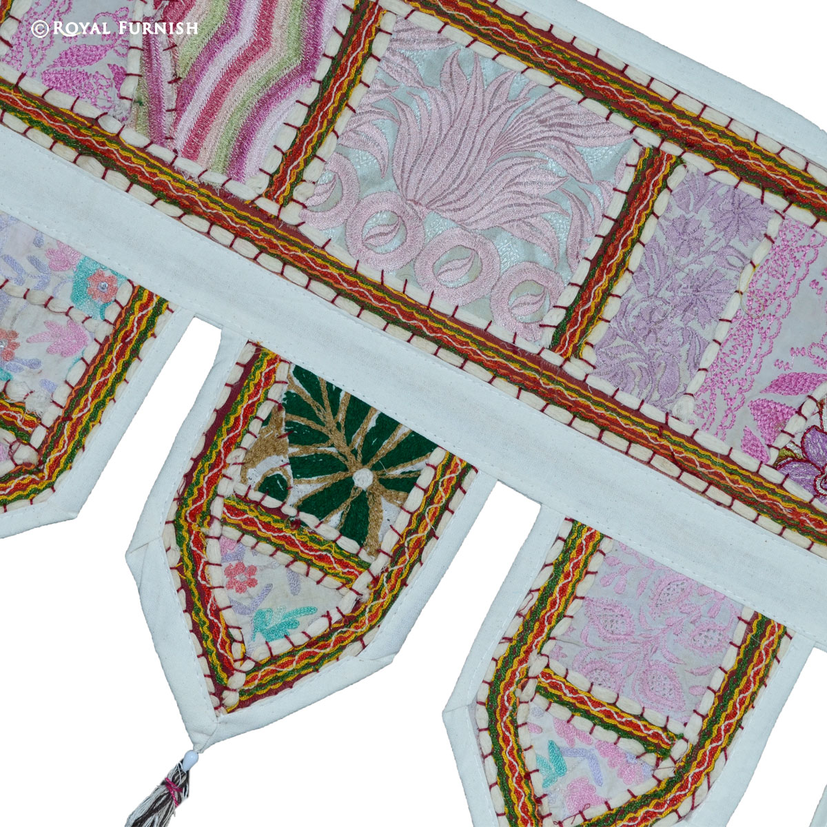 White Indian Patchwork Toran Door Hanging Valance Topper