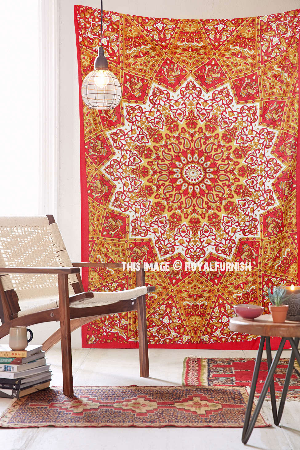 Red Twin Indian Star Print Hippie Dorm Decor Tapestry Wall