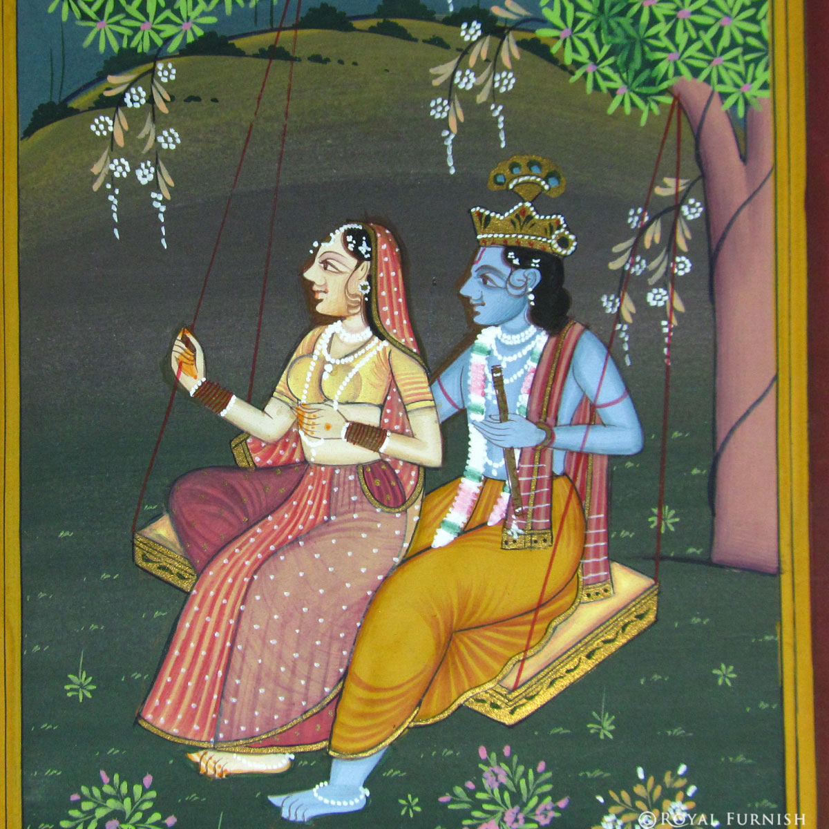 Hindustani Girl Wallpaper Hindu Radha Krishna On Swing Rajasthani Miniature Wall Art