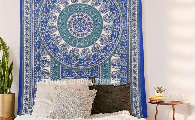Twin Size Blue Indian Handloom Mandala Tapestry Wall