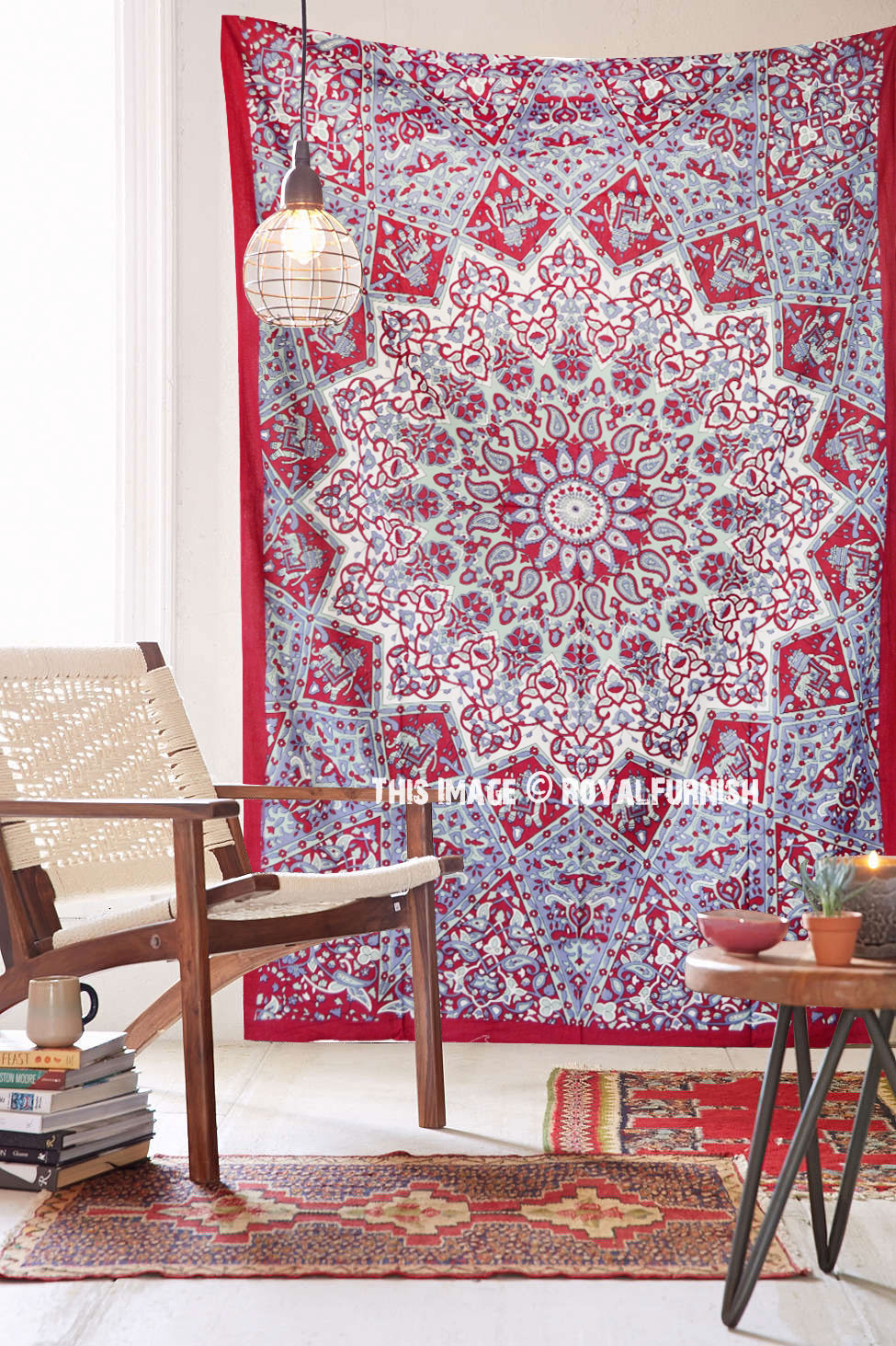 Maroon Small Indian Dorm Decor Star Hippie Tapestry Wall