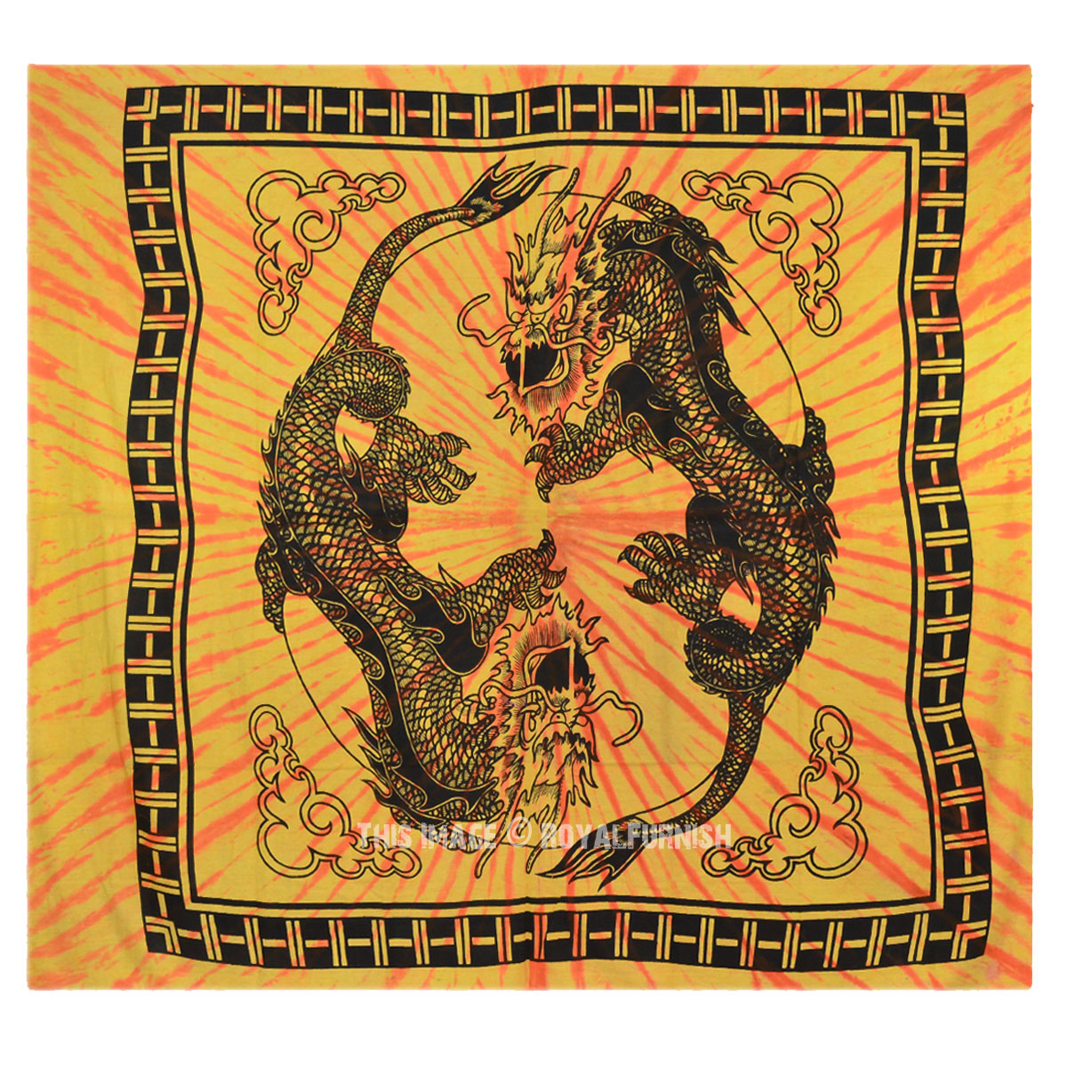 Yellow Yin Yang Chinese Dragon Fly Hippie Tapestry Wall Hanging Bedspread Decor Art