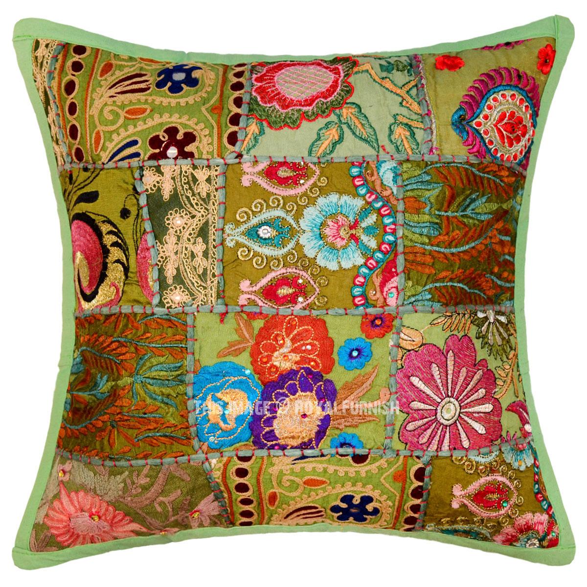 Decorative and Accent Multi Green Patchwork Unique Pillow