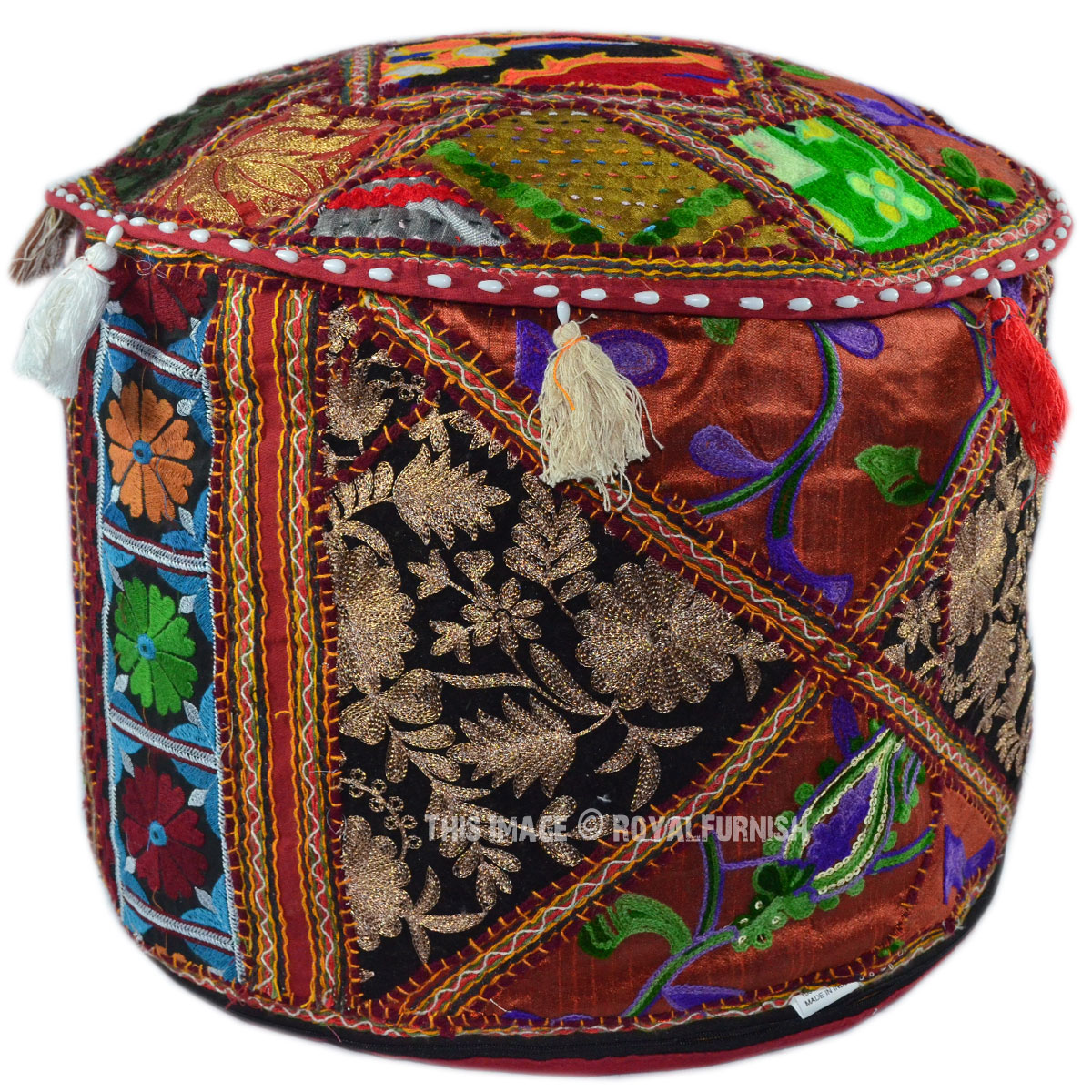 Red Round Suzani Handmade Patchwork Embroidered Ottoman