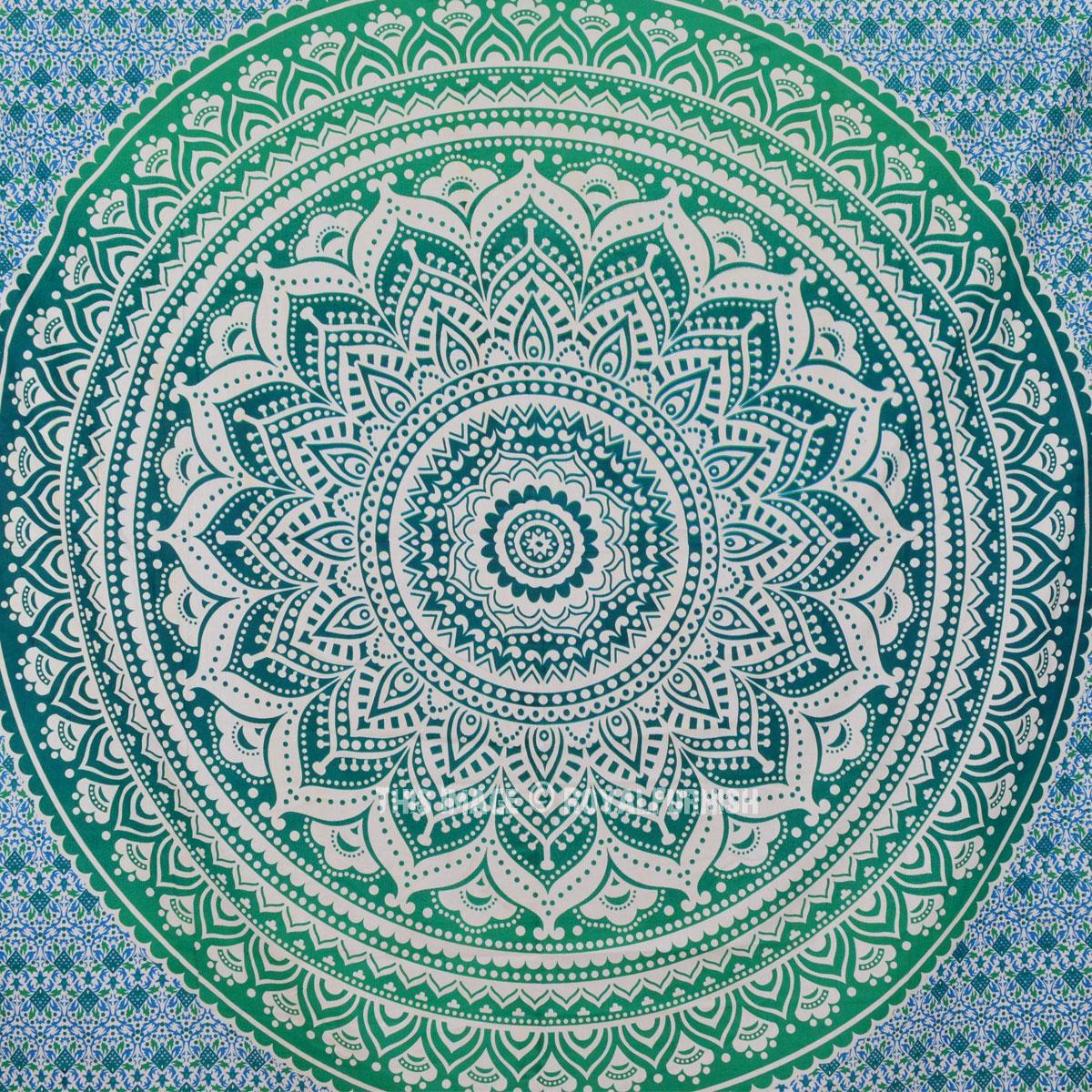 Sea Green Multi Ombre Tapestry Indian Mandala Bedding