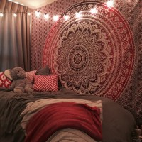 Maroon Floral Ombre Mandala Wall Tapestry Bedding, Beach ...