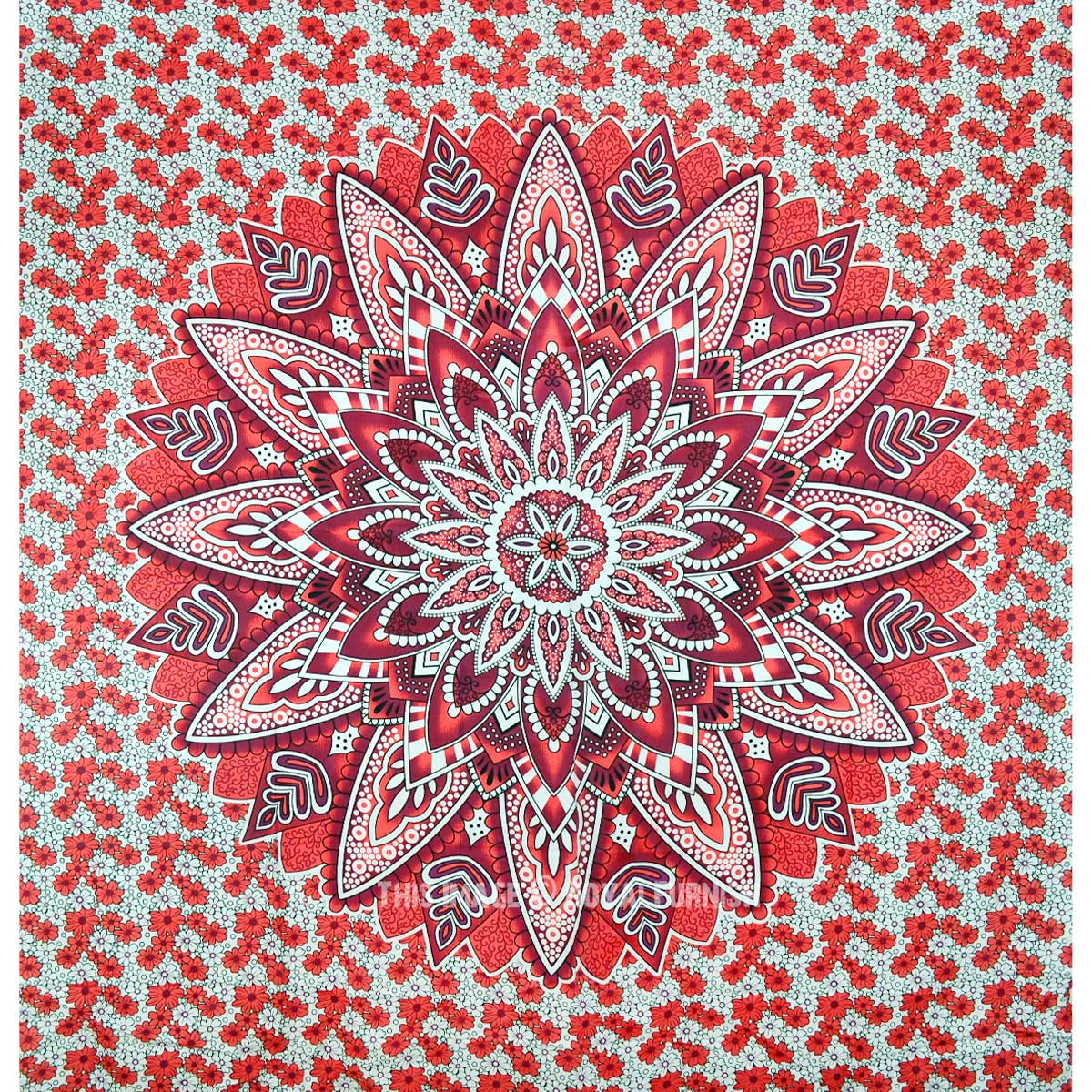 Red Big Flower Circle Ombre Medallion Mandala Tapestry