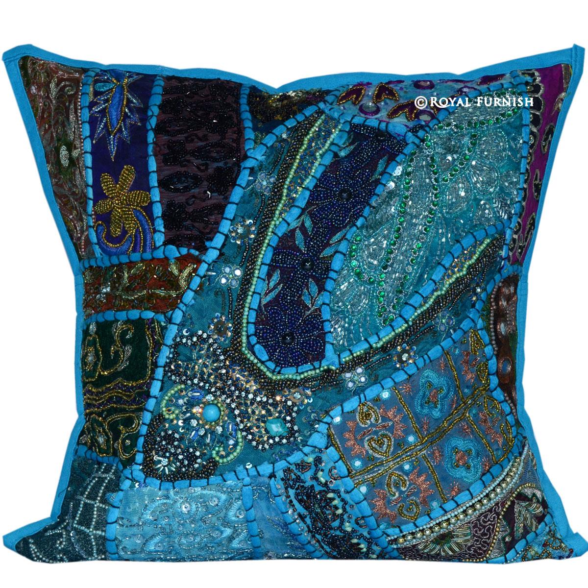 16 Vintage Blue Sequin Beads Work Ethnic Decor Throw