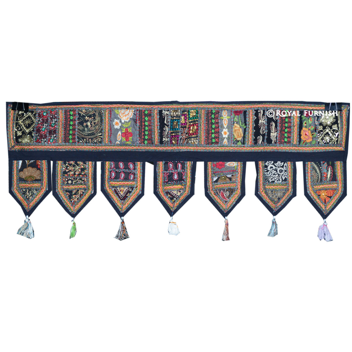 Black Indian Vintage Patchwork Window Door Hanging Toran