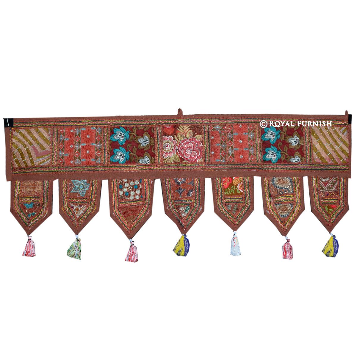 Brown Indian Vintage Patchwork Window Door Hanging Toran