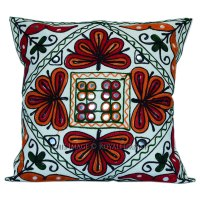 """16"""" White Embroidered Decorative Accent Outdoor Custom ..."""