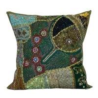 16x16 Decorative Handmade Beaded Sequin Square Pillow ...