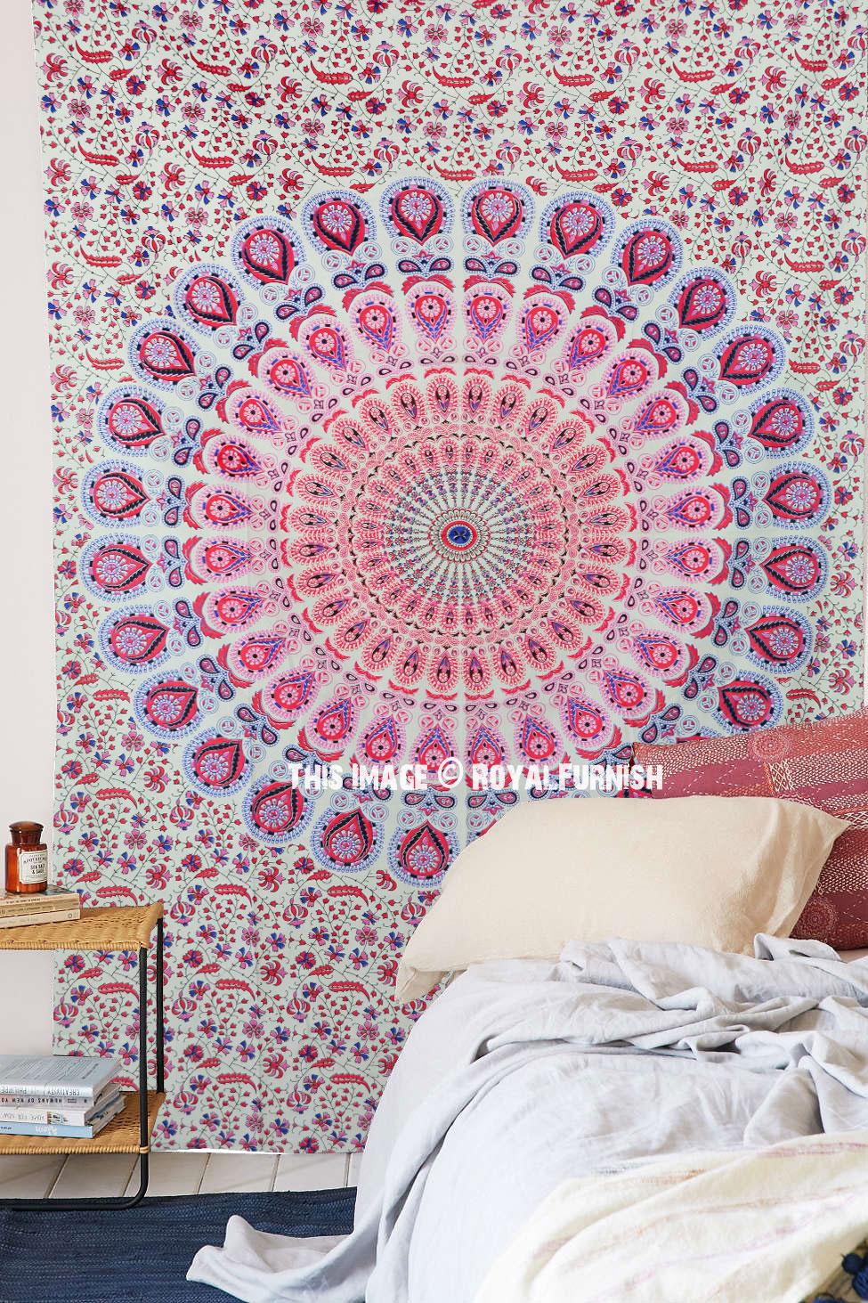 White Pink Multi Mandala Throw Tapestry Indian Wall