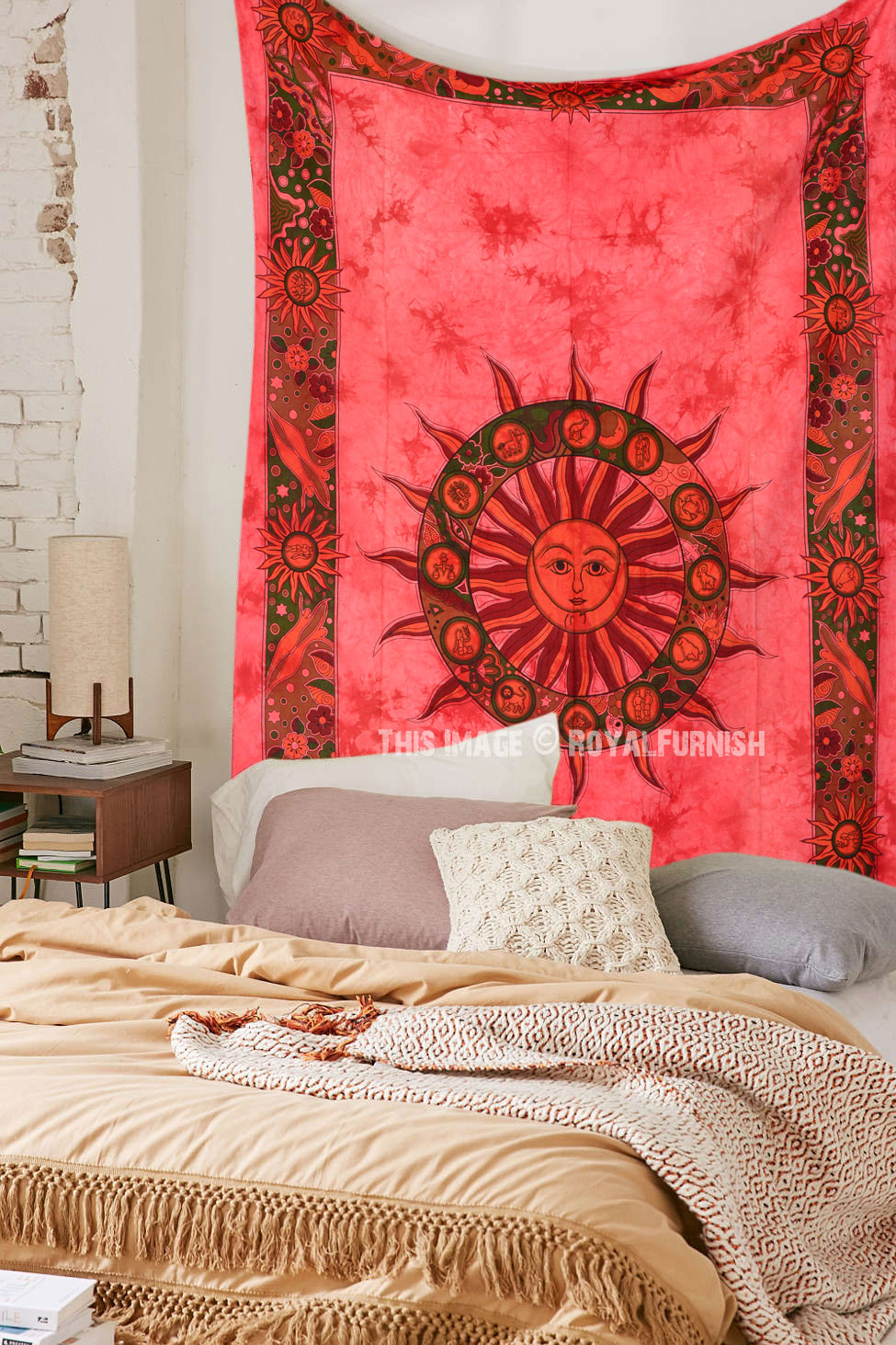 Small Red Celestial Sun Tapestry Hippie Tie Dye Tapestry Bedding Throw