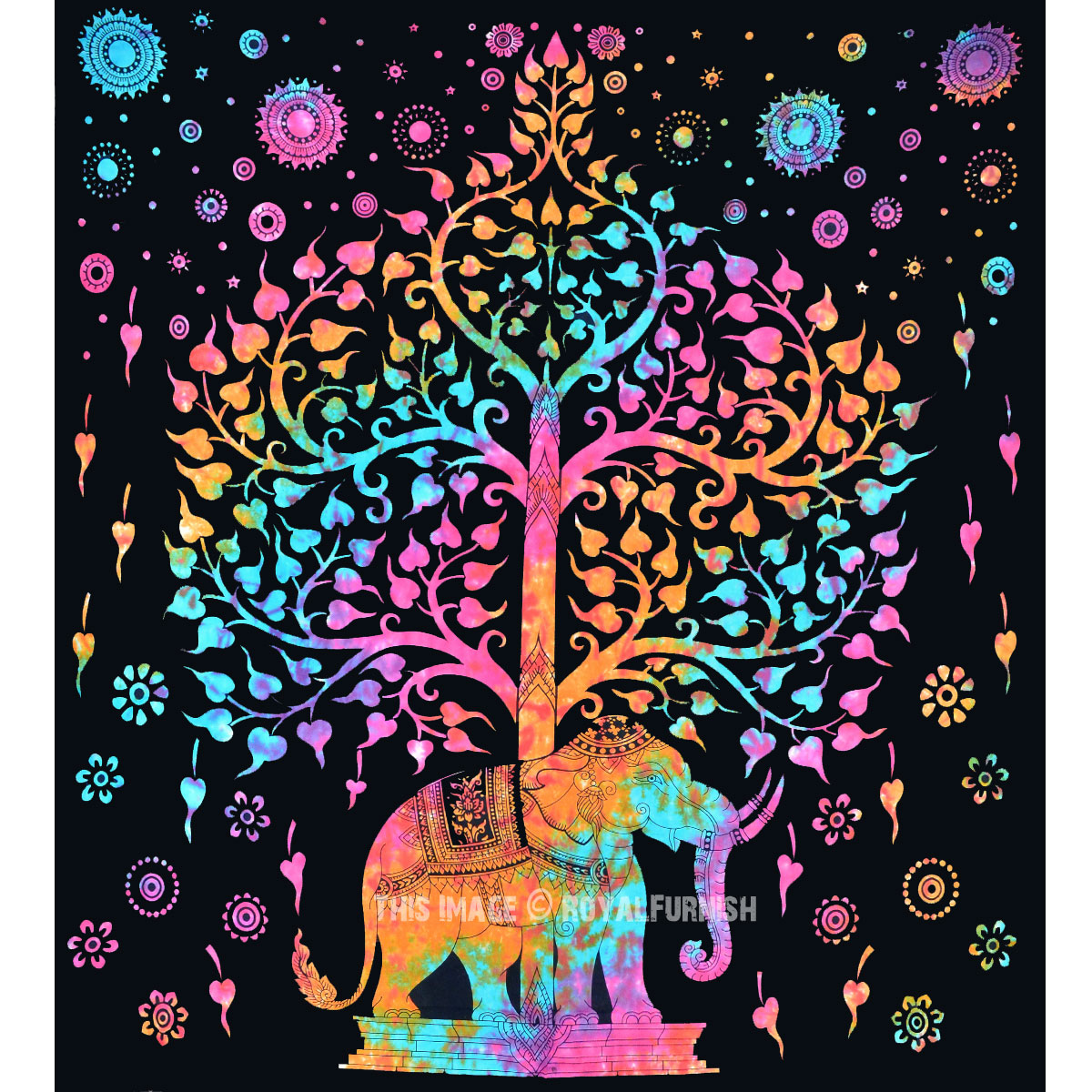 Black Elephant Tree Tapestry Wall Hanging Hippie Tie Dye
