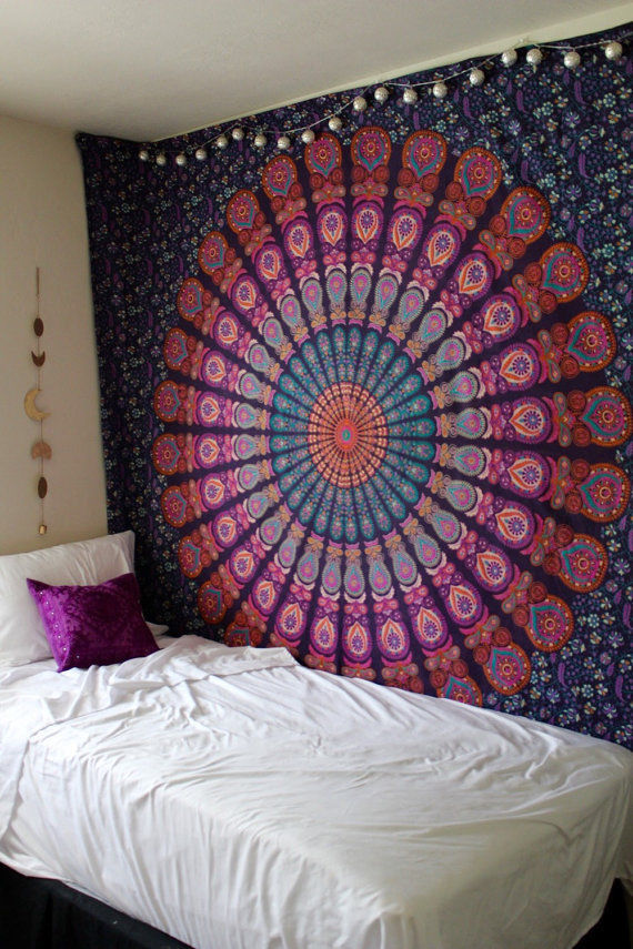 Queen Pink Purple Indian Mandala Throw Tapestry Dorm Hippie Boho Bedspread  RoyalFurnishcom