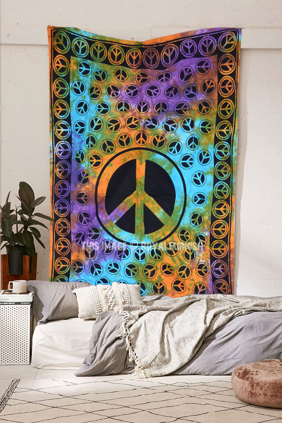 Tie Dye Hippie Peace Sign Hippy Tapestry Wall Hanging