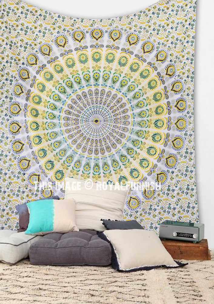 Psychedelic Dorm Bedroom Mandala Wall Tapestry Cotton Bedding Bedspread  RoyalFurnishcom