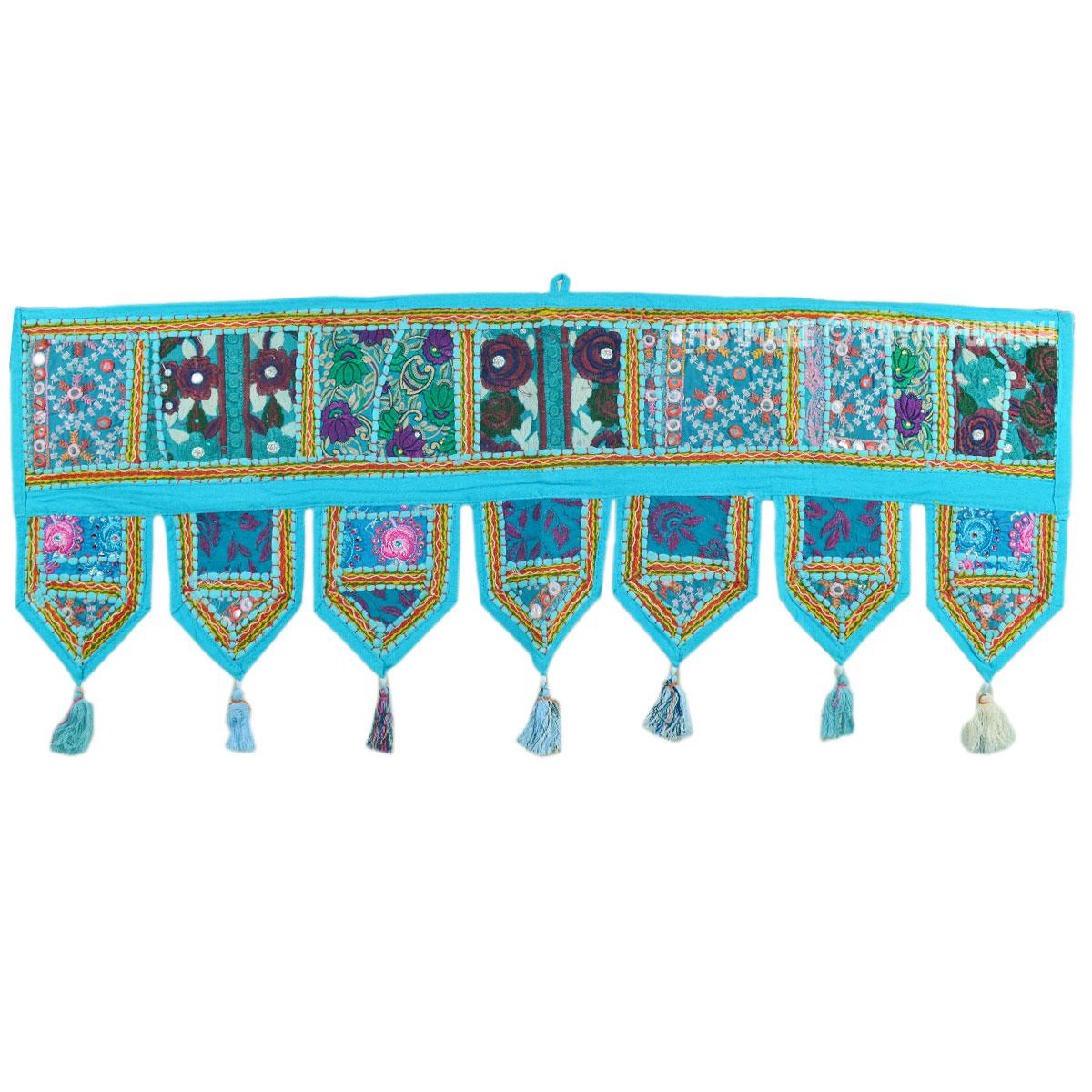 Turquoise Needlepoint Patchwork Embroidered Window Valance
