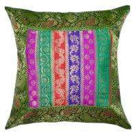 Multi Floral Striped Bohemian Style Silk Throw Pillow