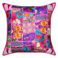 "24X24"" Pink Boho Patchwork Decorative & Accent Throw ..."