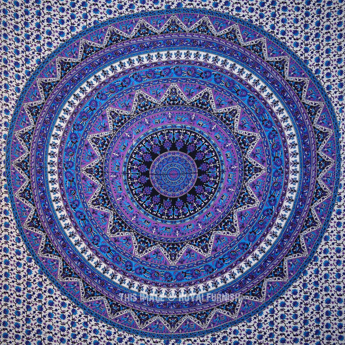 Blue Bohemian Star Kerala Medallion Tapestry Wall Hanging