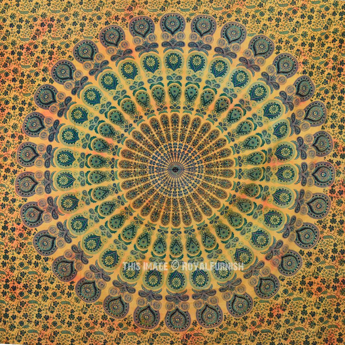 Yellow Bohemian Peacock Round Mandala Wall Tapestry