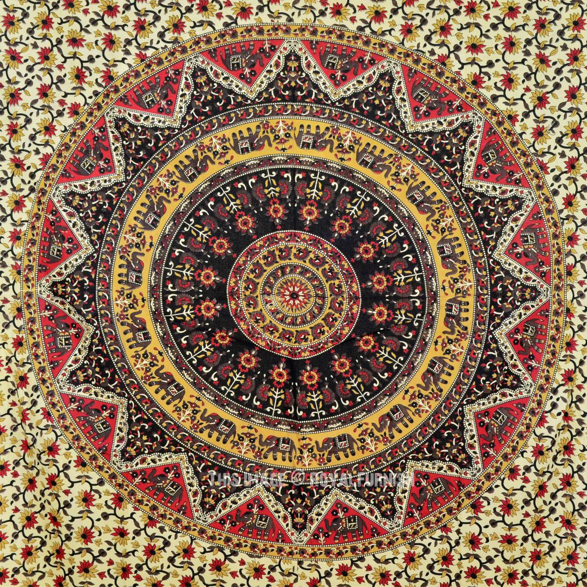 Beige and Red Kerala Star Mandala Wall Tapestry