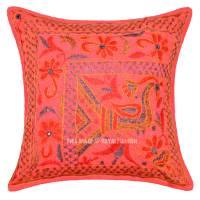Orange Peacock Dance Theme Needlepoint Unique Pillow Cover ...