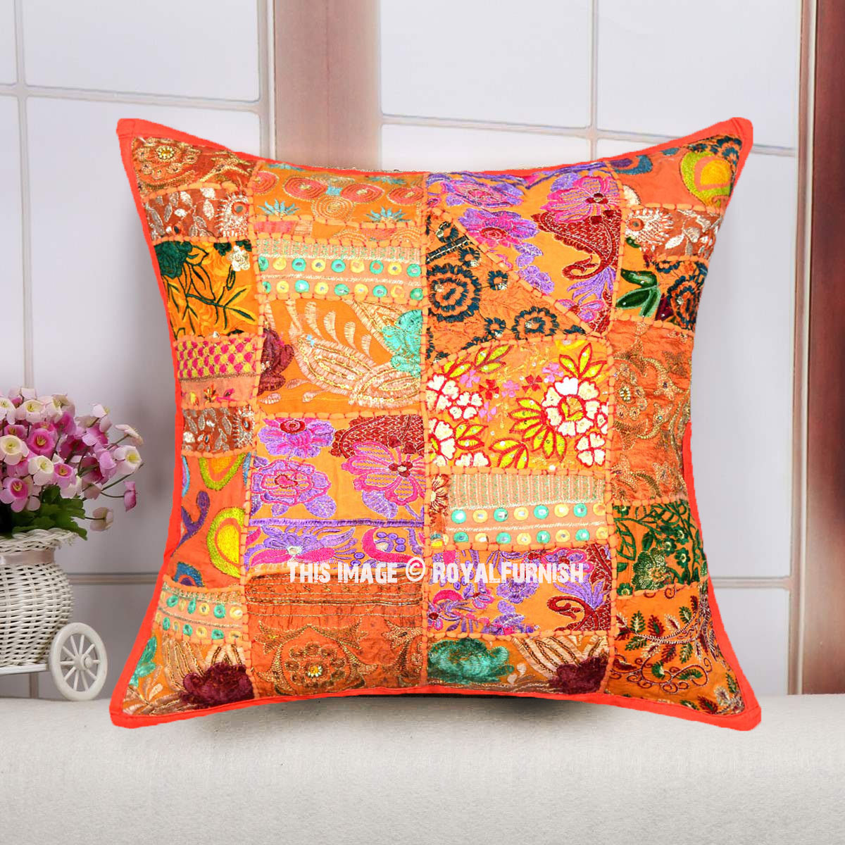 cotton sofa covers india cream colored sectional orange multi old fabric patchwork bohemian accent square ...