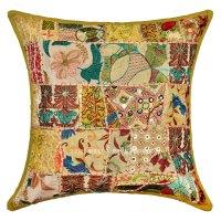20X20 Green Handmade Boho Accent Square Throw Pillow Cover ...