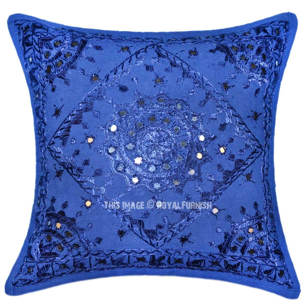 Blue Boho Accent 16X16 Decorative Mirrored Cotton Throw